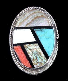 Zuni Sterling Silver Inlaid Stone Mosaic Ring
