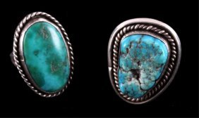 Navajo Old Pawn Sterling Silver Turquoise Rings
