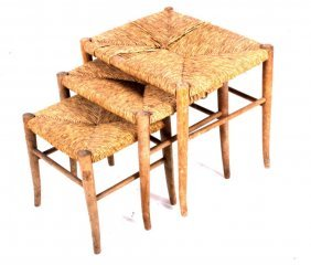 Three Rattan Or Cane Nesting Stools