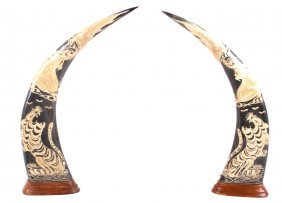 Carved Water Buffalo Horns W/ Dragon & Tiger