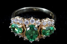 Tsavorite Garnet & Diamond 14k Gold Ring