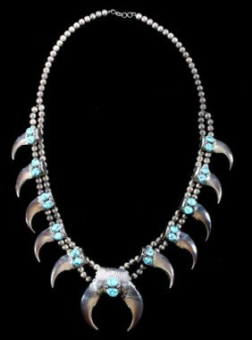 Navajo Bear Claw Turquoise Silver Squash Necklace