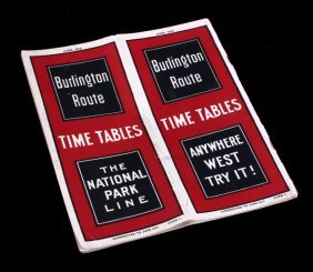 Burlington Route National Park Line Time Tables