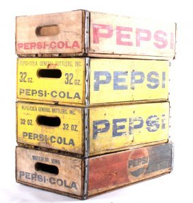 Four Pepsi- Cola Wooden Crates