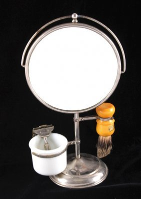 Antique Acme Shaving Stand With Mirror