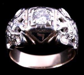 Gold And Diamond 32nd Degree Scottish Masonic Ring