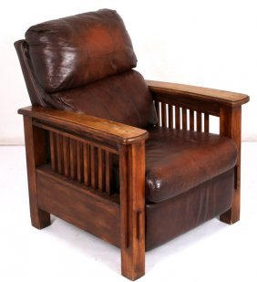 Flexsteel Leather Mission Style Arm Chair