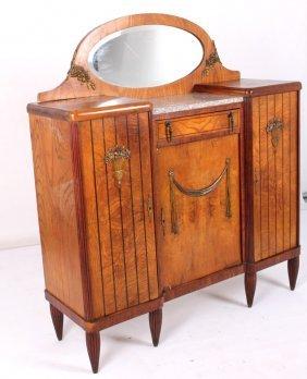Antique Walnut Buffet W/ Oval Mirror & Marble Top