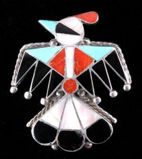 Zuni Sterling Silver Inlaid Thunderbird Brooch