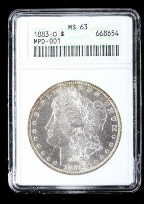 1883-o Morgan Silver Dollar Anacs Ms63 Toned