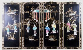 Oriental Black Lacquer Wood Wall Panels