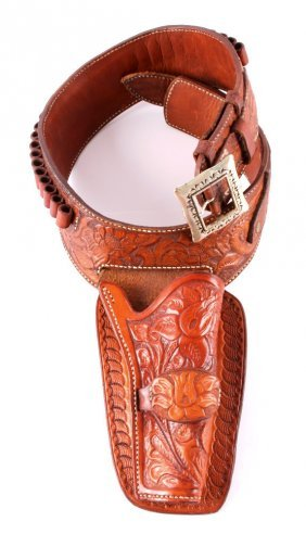 Hand Tooled Leather Gun Belt With Holster