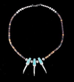 Navajo Sterling Bear Claw Turquoise Necklace