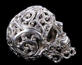 Vintage Filigree Metal Skull