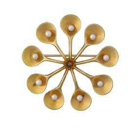 Nanna Ditzel/georg Jensen Yellow Gold Brooch #1354c