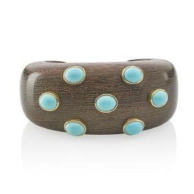 Italian Carved Wood Turquoise Yellow Gold Cuff Bracelet