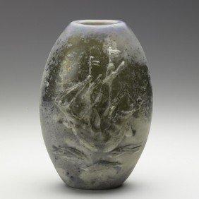 BARBINI; Large Scavo Glass Vase