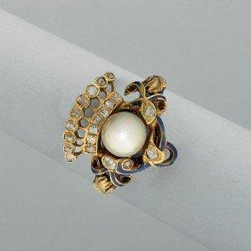 RENAISSANCE REVIVAL GOLD DIAMOND PEARL RING