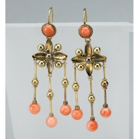 ARCHAEOLOGICAL REVIVAL CORAL AND GOLD EARRINGS