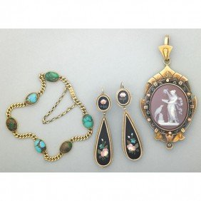 VICTORIAN 14K GOLD AND HARDSTONE JEWELRY