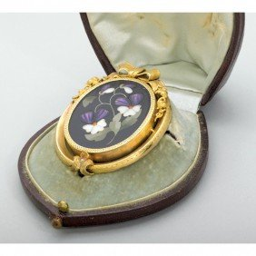 CASED PIETRA DURA FLORAL AND GOLD BROOCH