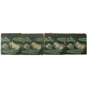 GRUEBY; Four Waterlilly Tiles