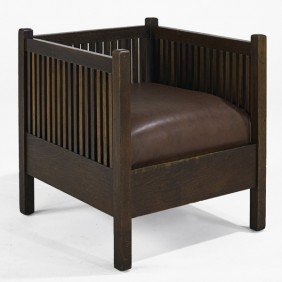 GUSTAV STICKLEY; Spindle Cube Chair