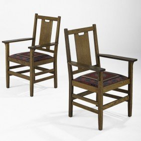 GUSTAV STICKLEY; Pair H-Back Armchairs