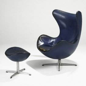 ARNE JACOBSEN; Egg Chair And Ottoman