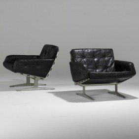 PAUL LEIDERSDORFF; Pair Of Lounge Chairs