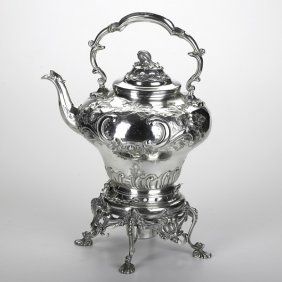 VICTORIAN SILVER PLATED KETTLE ON STAND