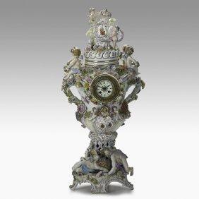 MONUMENTAL GERMAN PORCELAIN CLOCK