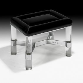 KARL SPRINGER Acrylic And Vinyl Bench