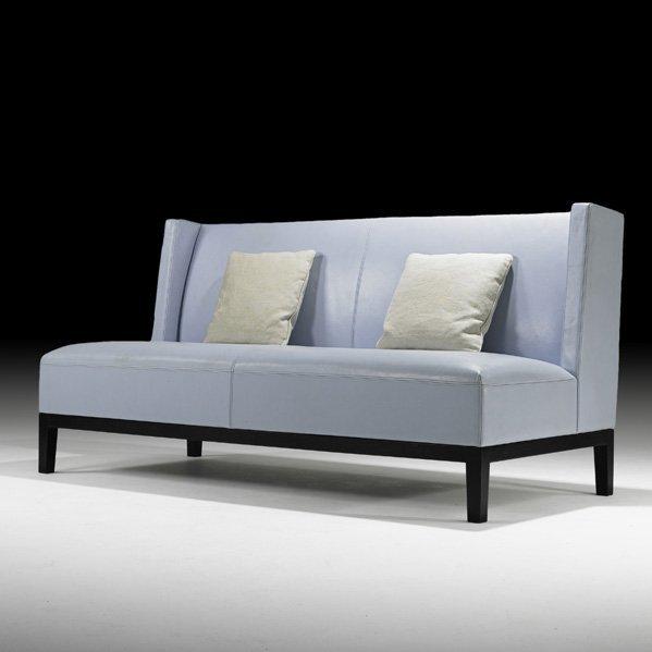 High Back White Leather Sofa: 1097: CHRISTIAN LIAIGRE High-back Stitched Leather Sofa