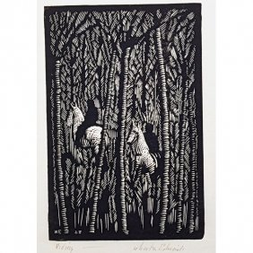 "WHARTON ESHERICK Woodblock Print, ""Riding"""