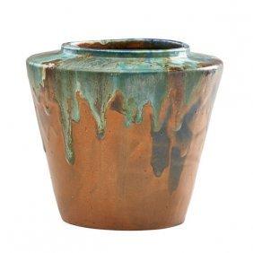 Pewabic Early Vase Multicolor Drip Glaze Lot 127