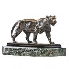 """Antoine-louis Barye Sculpture, """"tigre Qui Marche"""""""