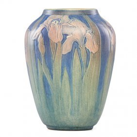 A.f. Simpson; Newcomb College Large Vase W/ Irises