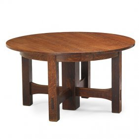 Gustav Stickley Five-leg Dining Table