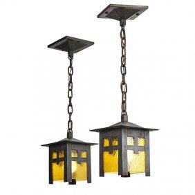 Gustav Stickley Pair Of Lanterns (no. 673)