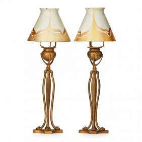 Tiffany Studios Pair Of Candlelamps