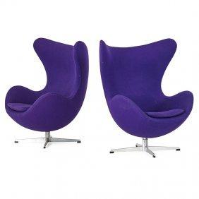 Arne Jacobsen; Fritz Hansen Pair Of Egg Chairs