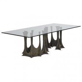 Evans; Directional Sculptured Metal Dining Table
