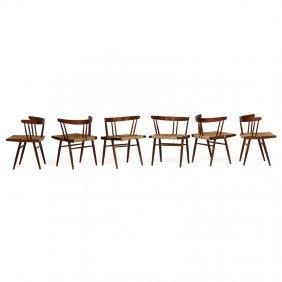 George Nakashima Six Grass-seated Chairs