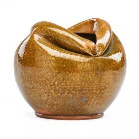 George Ohr Vase With Folded Rim