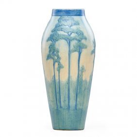 A.f. Simpson; Newcomb College Tall Vase W/ Pines