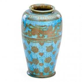 Pilkington Royal Lancastrian Vase With Lions