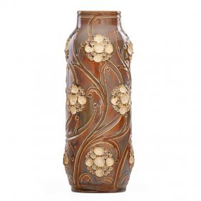 Royal Doulton Tall Vase With Floral Decoration