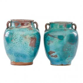 Jugtown Two Chinese Blue Urns