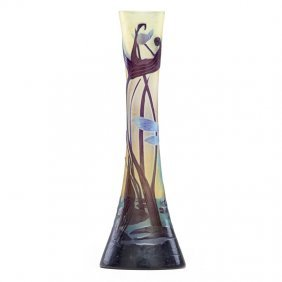 Galle Cameo Glass Vase With Dragonfly